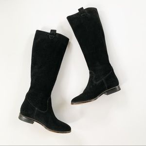 Michael Kors Black Suede Zipper Trim Boots 5.5